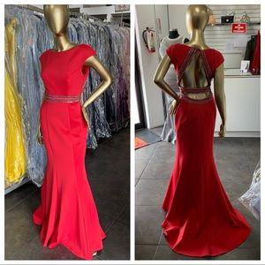 Scuba evening gown w/ cap sleeves embellished belt